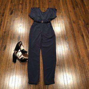 H&M Navy Jumpsuit With Belt - Size 10